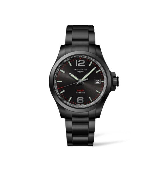 41.00 mm Black PVD coating case with Black carved dial and Black PVD coating strap