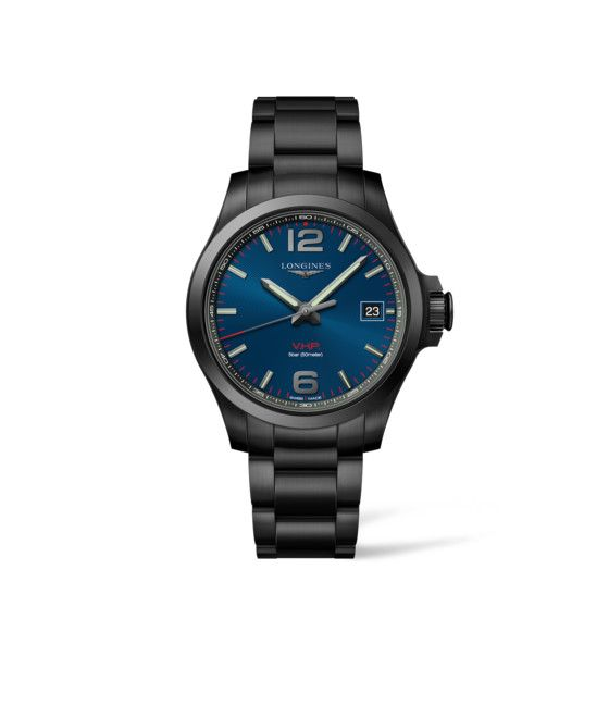 41.00 mm Black PVD coating case with Blue carved dial and Black PVD coating strap