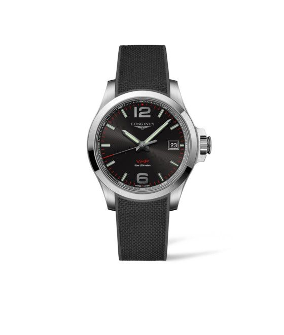 41.00 mm Stainless steel case with Black carved dial and Rubber strap Black strap