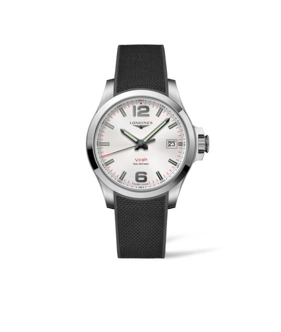 41.00 mm Stainless steel case with Silver carved dial and Rubber strap Black strap