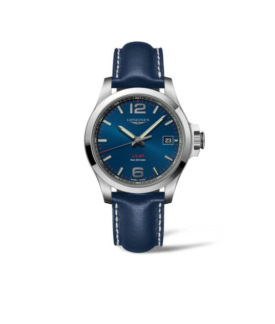 41.00 mm Edelstahl case with Blau graviert dial and Lederarmband Blau strap