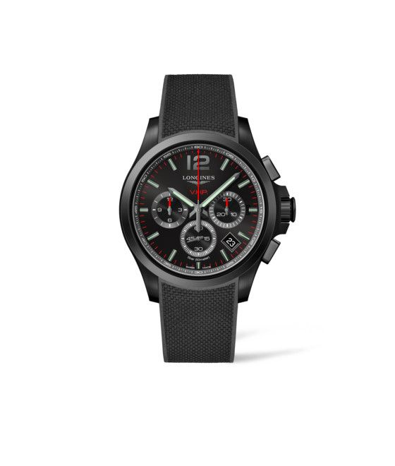 42.00 mm Black PVD coating case with Black carved dial and Rubber strap Black strap
