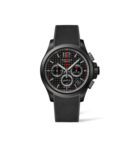 42.00 mm Black PVD coating case with Black carbon dial and Rubber strap Black strap