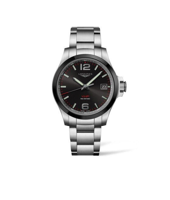 41.00 mm Stainless steel and ceramic bezel case with Black carved dial and Stainless steel strap