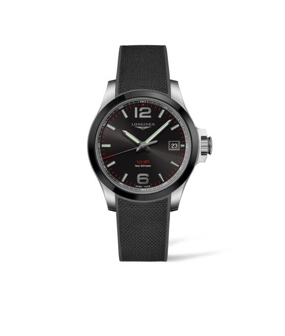 41.00 mm Stainless steel and ceramic bezel case with Black carved dial and Rubber strap Black strap