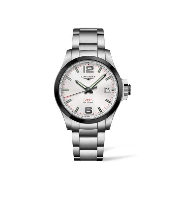 41.00 mm Stainless steel and ceramic bezel case with Silver carved dial and Stainless steel strap