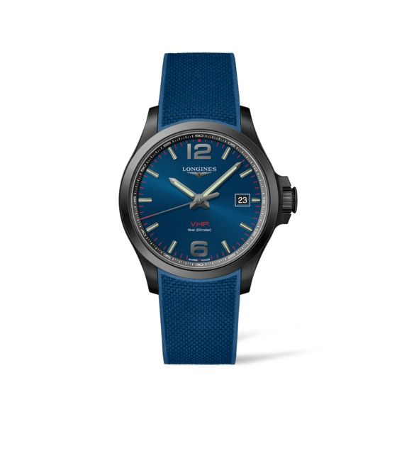 43.00 mm Black PVD coating case with Blue carved dial and Rubber strap Blue strap