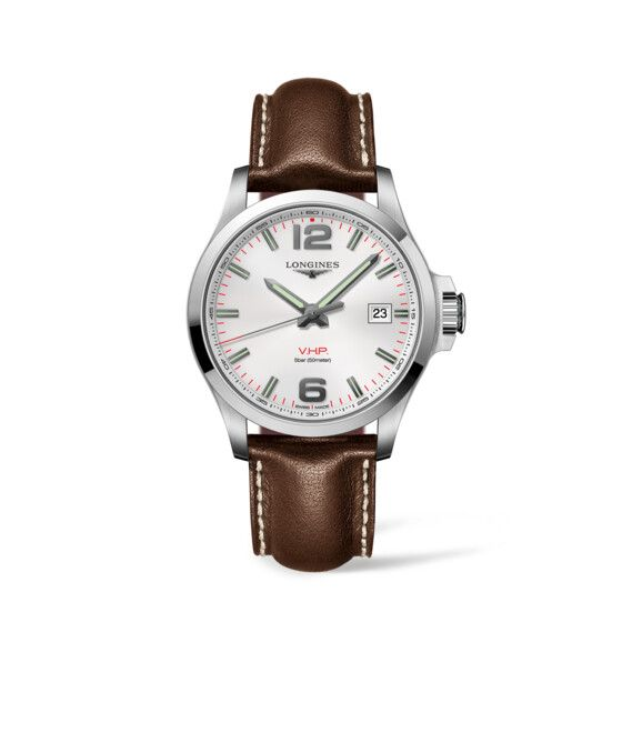 43.00 mm Stainless steel case with Silver carved dial and Leather strap Brown strap