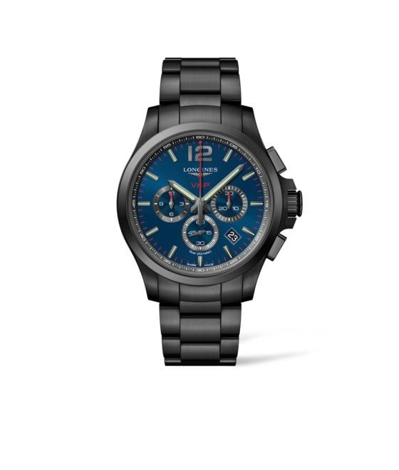 44.00 mm Black PVD coating case with Blue carved dial and Black PVD coating strap