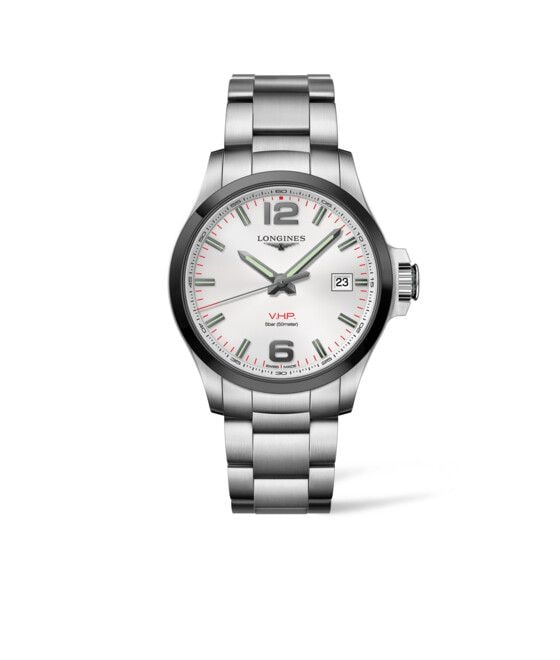 43.00 mm Stainless steel and ceramic bezel case with Silver carved dial and Stainless steel strap