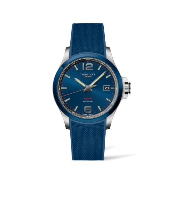 43.00 mm Stainless steel and ceramic bezel case with Blue carved dial and Rubber strap Blue strap