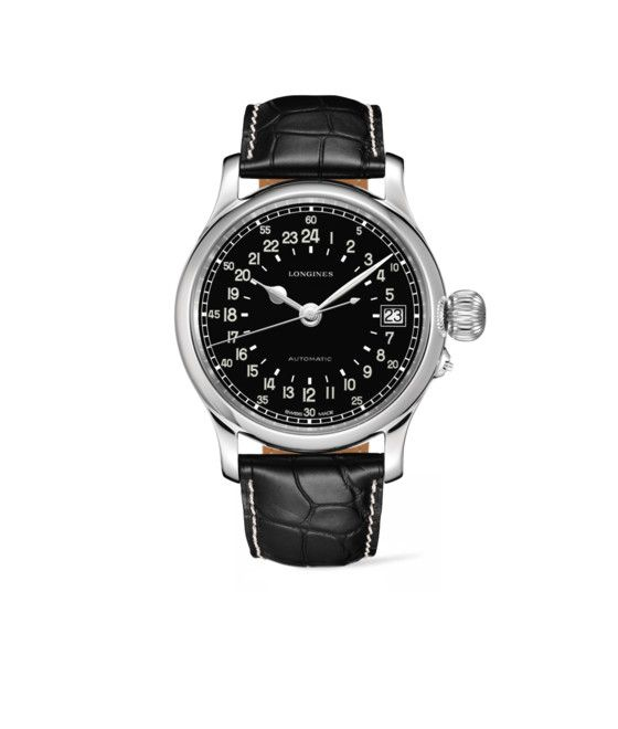 47.50 mm Stainless steel case with Black matt dial and Alligator strap Black strap