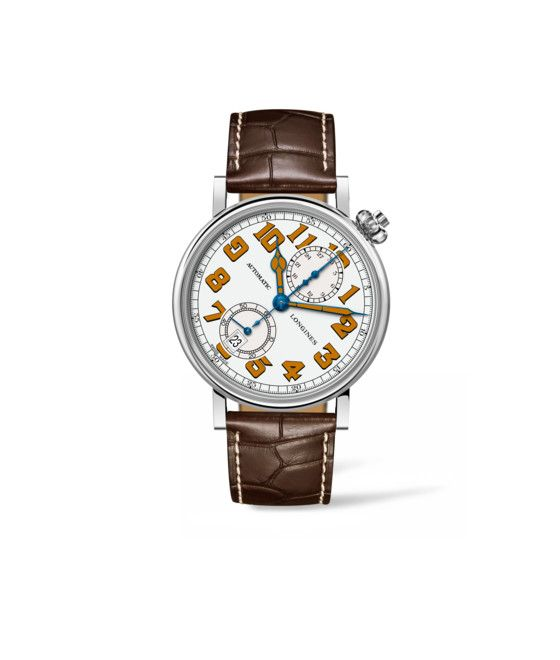41.00 mm Stainless steel case with White lacquered polished dial and Alligator strap Brown strap