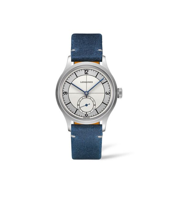 38.50 mm Stainless steel case with Silver dial and Leather strap Blue strap