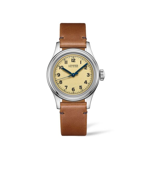 38.50 mm Acier case with Beige dial and Bracelet cuir strap