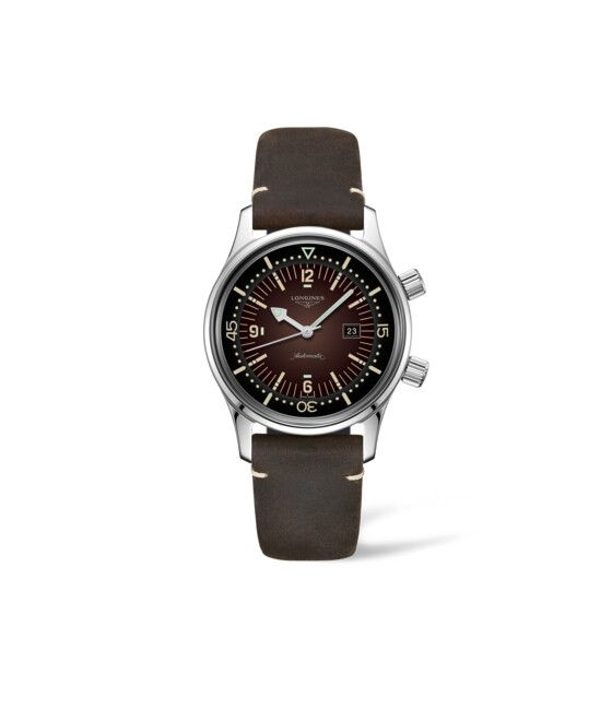 36.00 mm Stainless steel case with Brown dial and Leather strap Brown strap