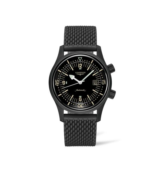 42.00 mm Black PVD coating case with Black lacquered polished dial and Rubber strap strap