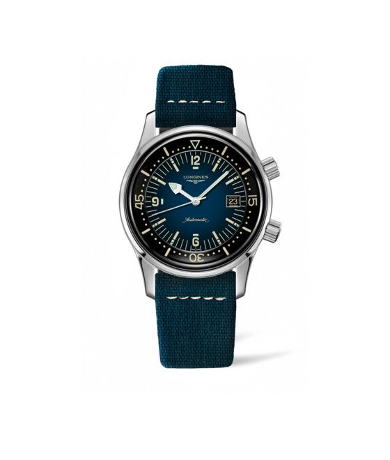 42.00 mm Acier case with Bleu dial and Bracelet cuir Bleu strap