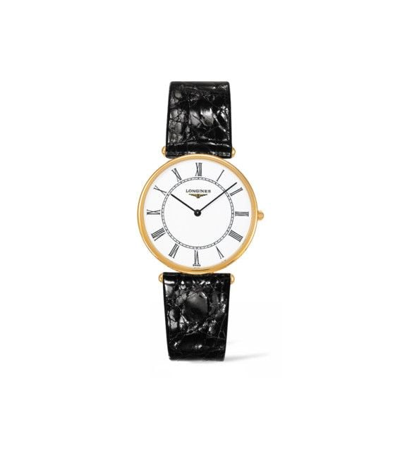 33.00 mm Or jaune 18 carats case with Blanc mat dial and Bracelet Alligator Noir strap