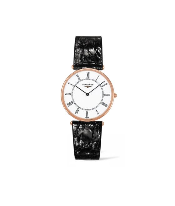 33.00 mm Or rose 18 carats case with Blanc mat dial and Bracelet Alligator Noir strap