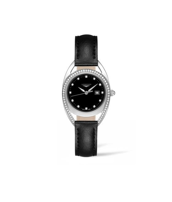 30.00 mm Stainless steel case with Black lacquered polished dial and Leather strap Black strap