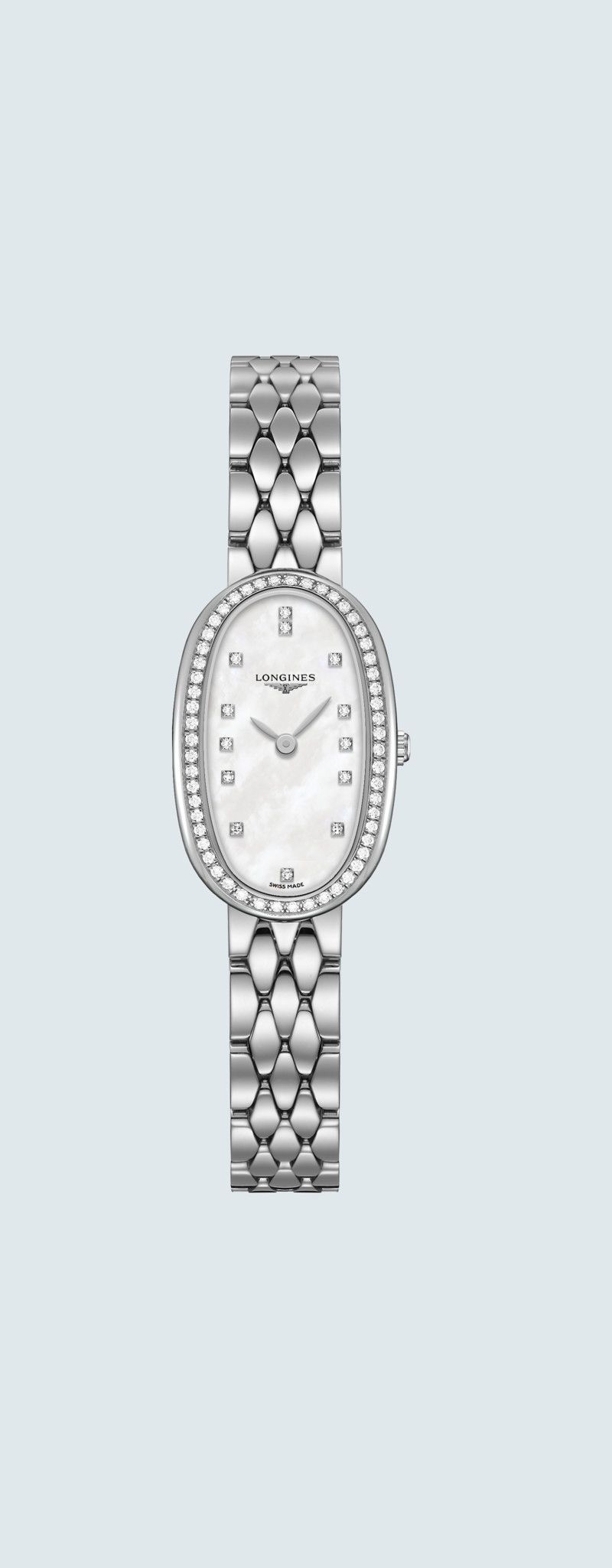 18.90 X 29.40 mm Stainless steel case with White mother-of-pearl dial and Stainless steel strap - c