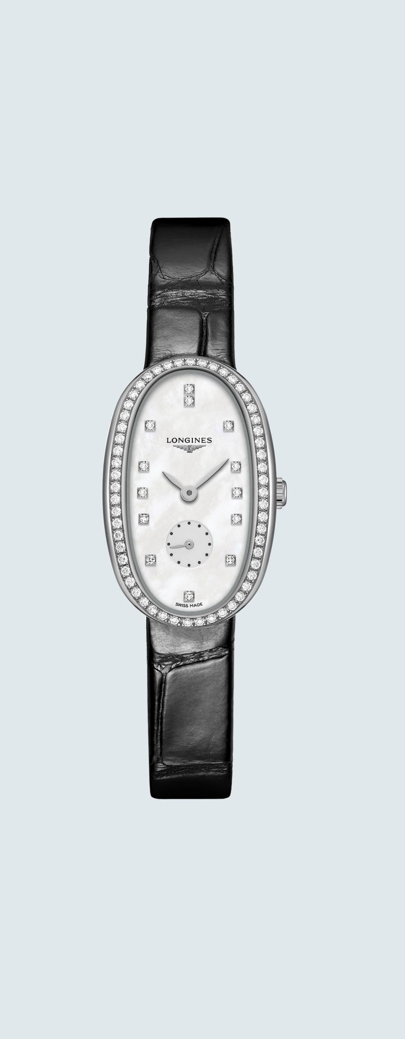 21.90 X 34.00 mm Stainless steel case with White mother-of-pearl dial and Alligator strap Black str
