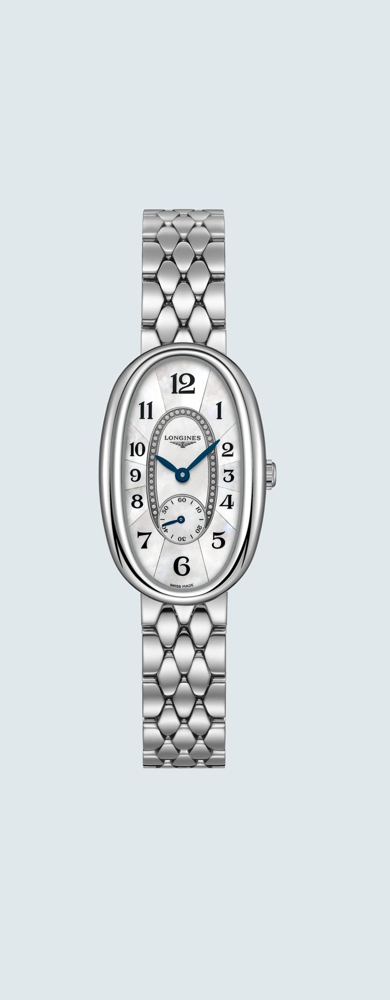 21.90 X 34.00 mm Stainless steel case with White mother-of-pearl dial and Stainless steel strap - c
