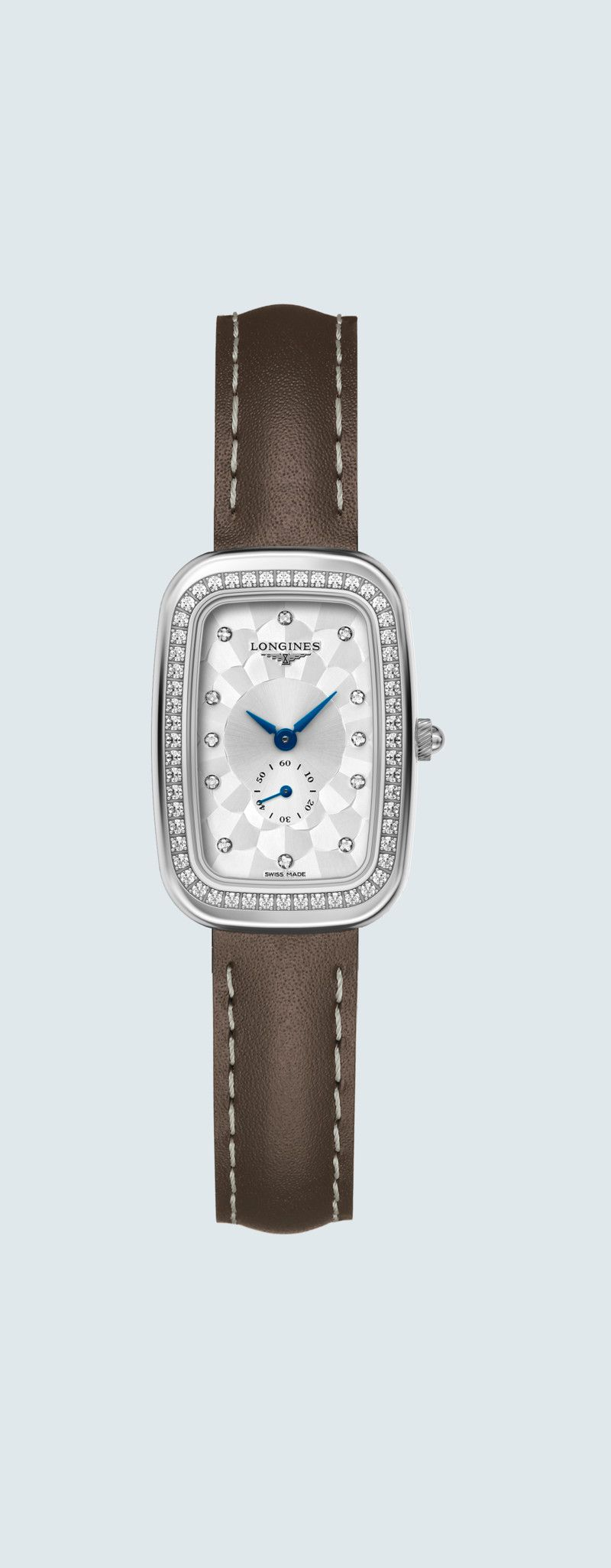 22.00 X 32.00 mm Edelstahl case with Silber dial and Lederarmband Braun strap - case zoom view