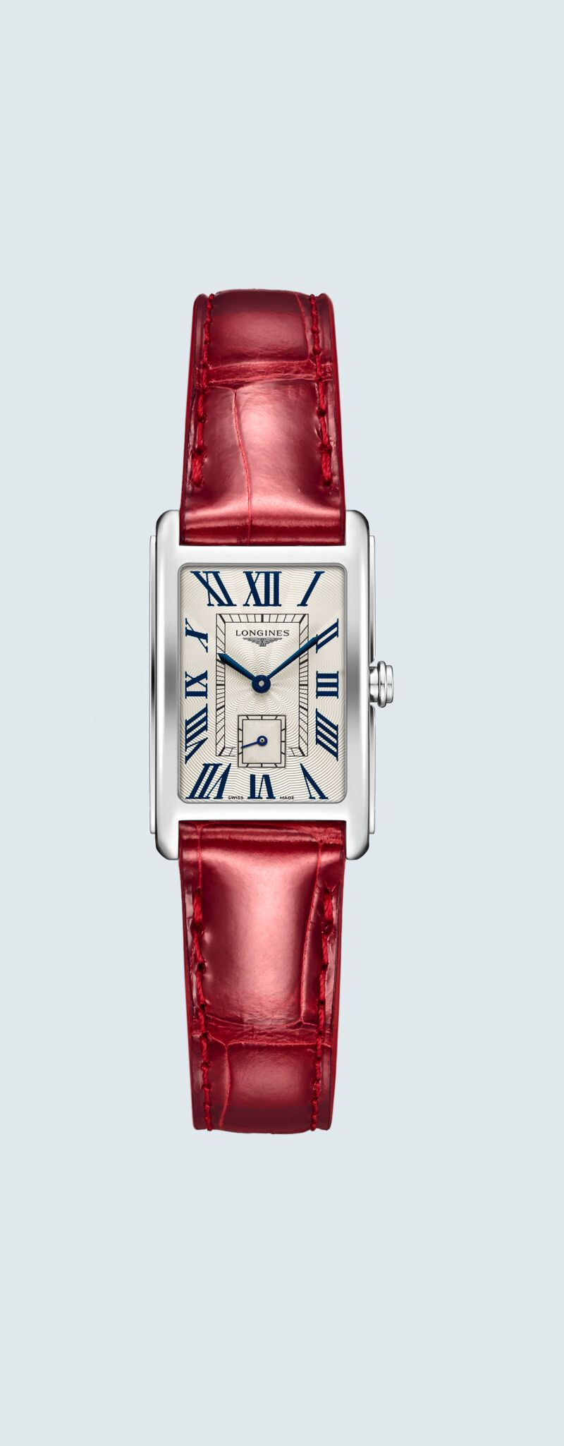 """20.80 X 32.00 mm Stainless steel case with Silver """"flinqué"""" dial and Alligator strap Red strap - c"""