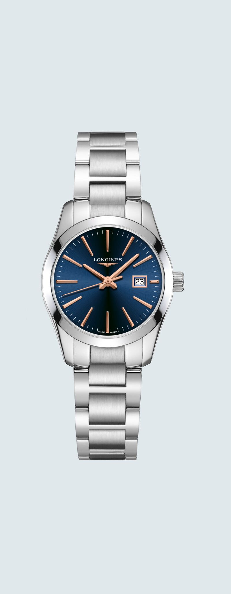 29.50 mm Stainless steel case with Blue dial and Stainless steel strap - case zoom view