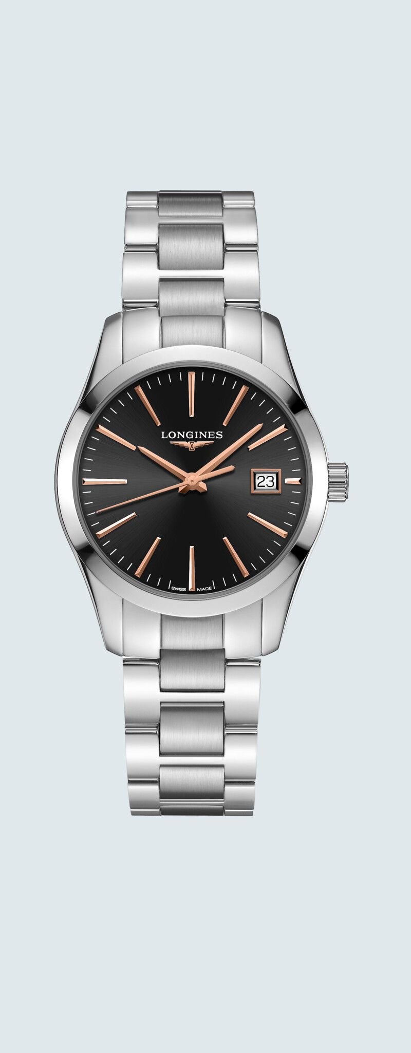 34.00 mm Stainless steel case with Black dial and Stainless steel strap - case zoom view
