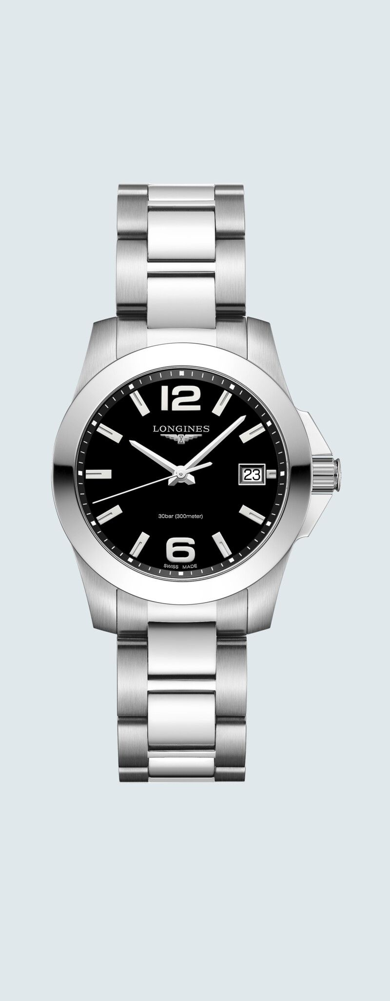 34.00 mm Edelstahl case with Schwarz lackiert, poliert dial and Edelstahl strap - case zoom view
