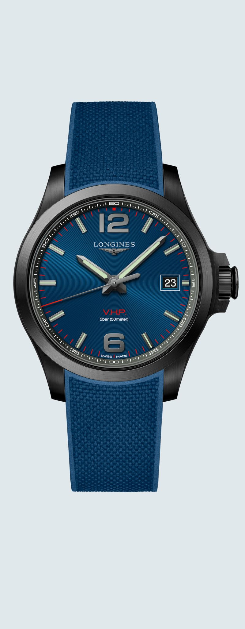 41.00 mm Black PVD coating case with Blue carved dial and Rubber strap Blue strap - case zoom view
