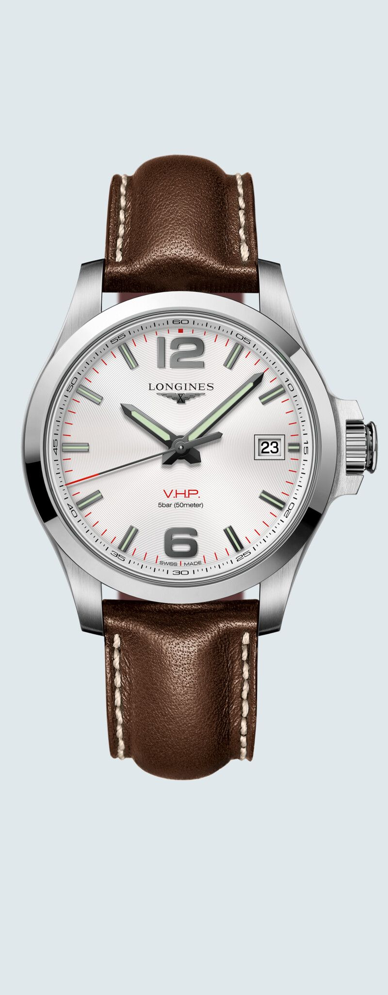 41.00 mm Edelstahl case with Silber graviert dial and Lederarmband Braun strap - case zoom view