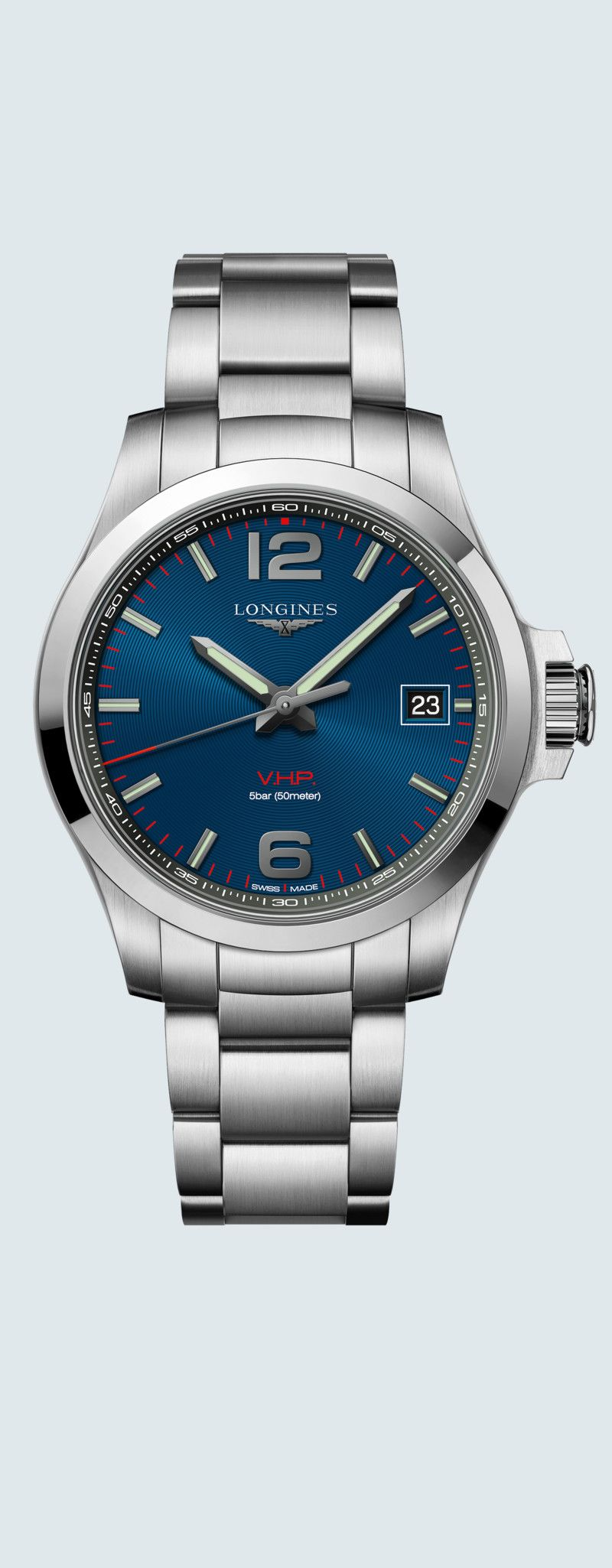 41.00 mm Stainless steel case with Blue carved dial and Stainless steel strap - case zoom view