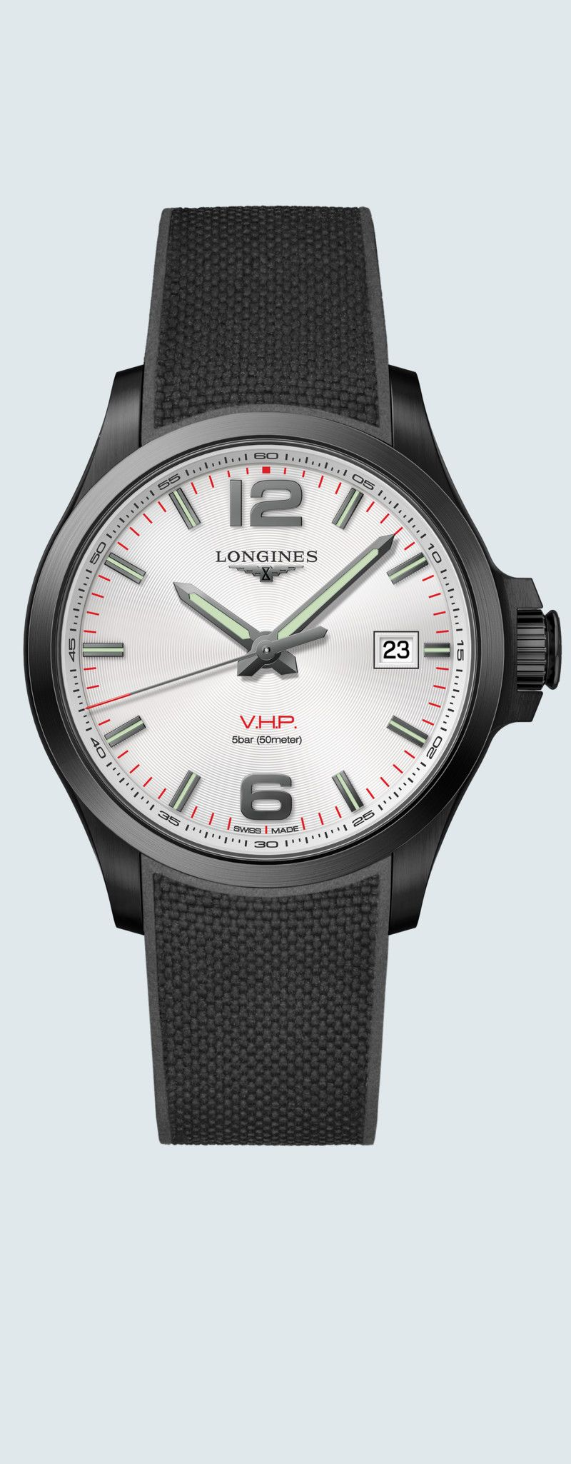 43.00 mm Black PVD coating case with Silver carved dial and Rubber strap Black strap - case zoom vi
