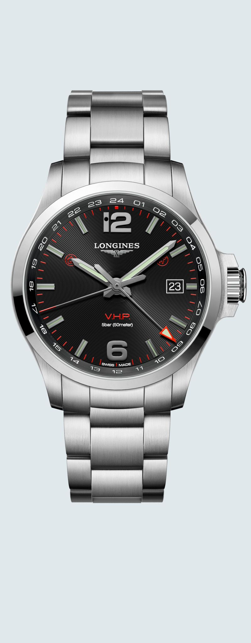 43.00 mm Stainless steel case with Black carved dial and Stainless steel strap - case zoom view