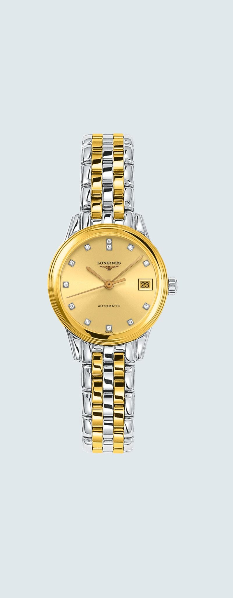 26.00 mm Stainless steel and yellow PVD coating case with Gilt dial and Stainless steel and yellow