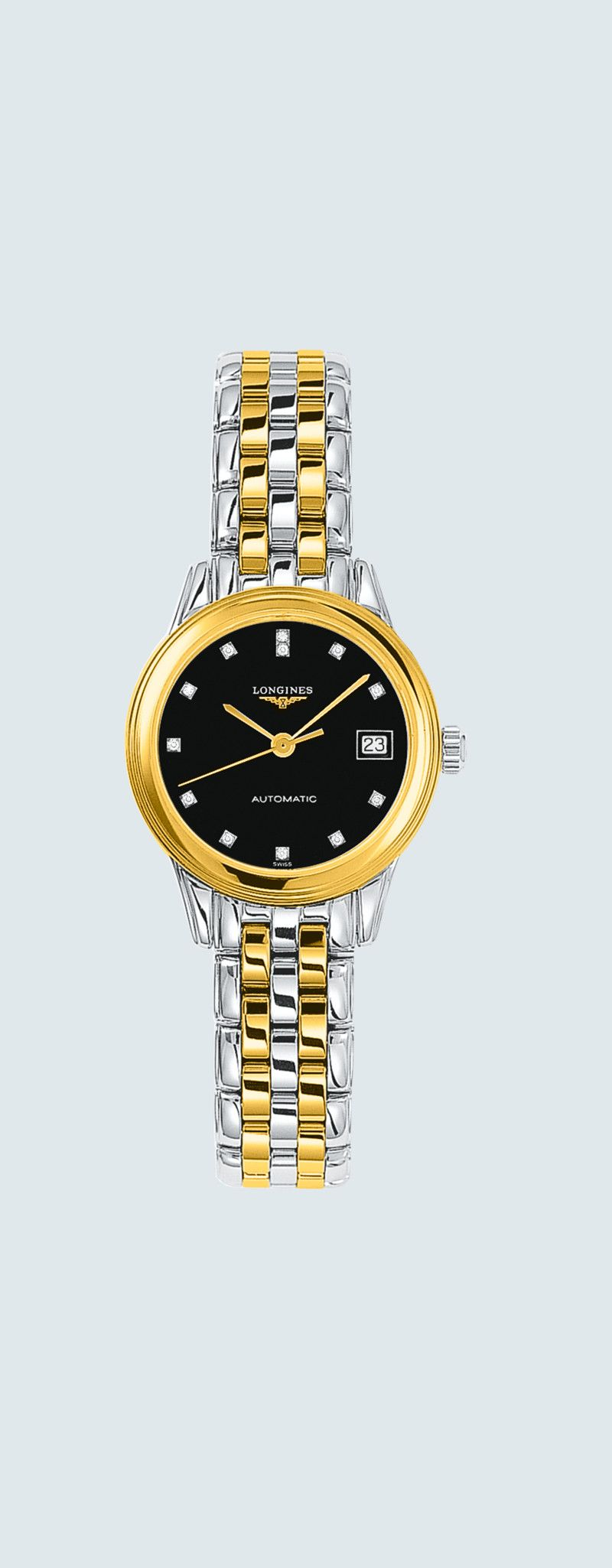 26.00 mm Stainless steel and yellow PVD coating case with Black lacquered polished dial and Stainle