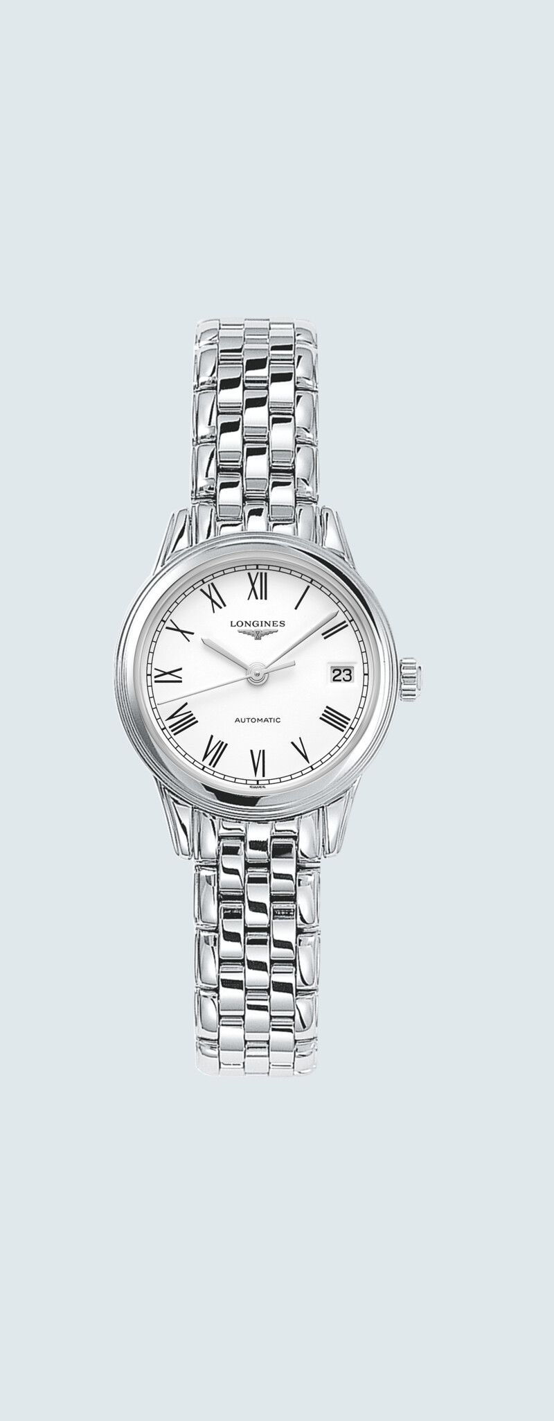 26.00 mm Stainless steel case with White matt dial and Stainless steel strap - case zoom view