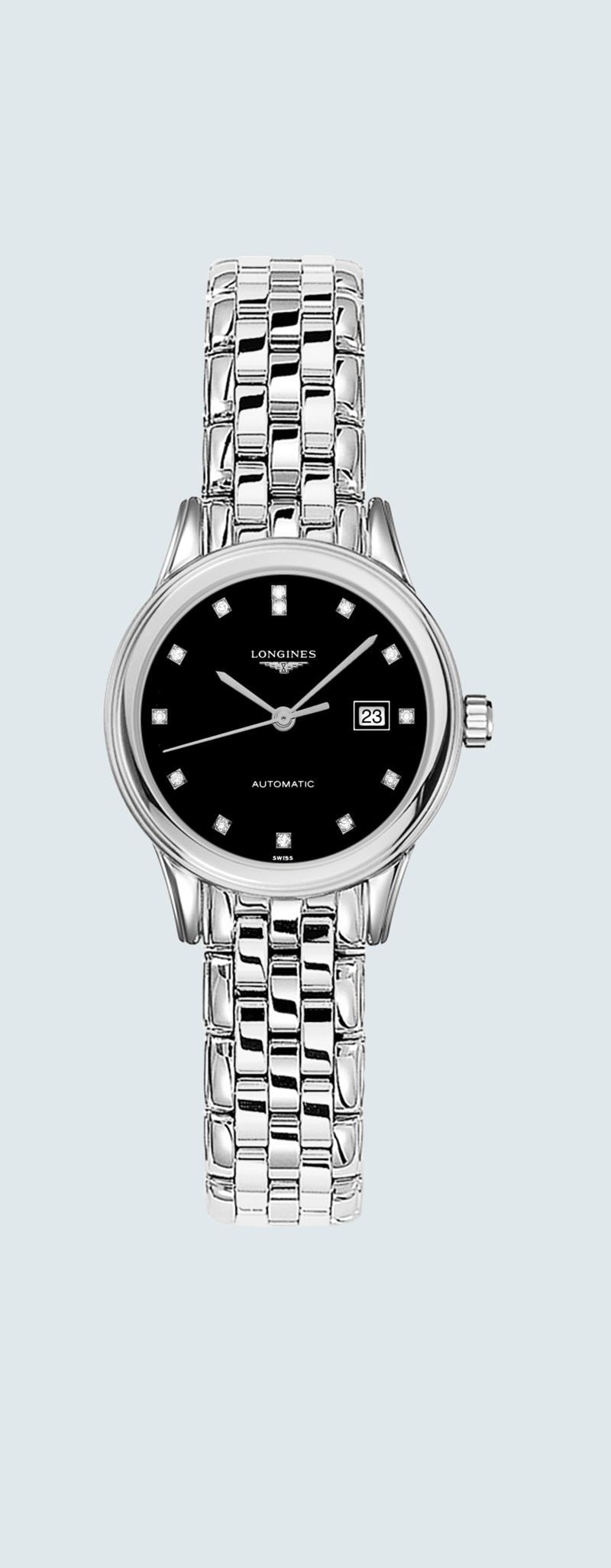 30.00 mm Stainless steel case with Black lacquered polished dial and Stainless steel strap - case z