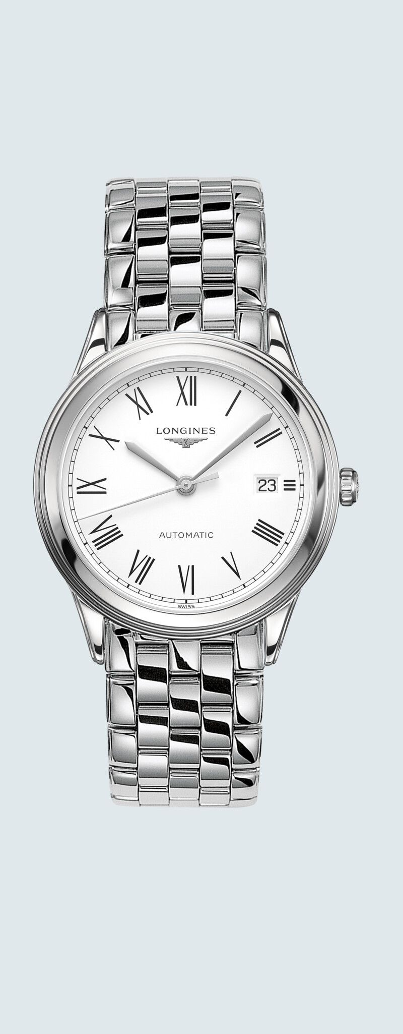 38.50 mm Stainless steel case with White matt dial and Stainless steel strap - case zoom view