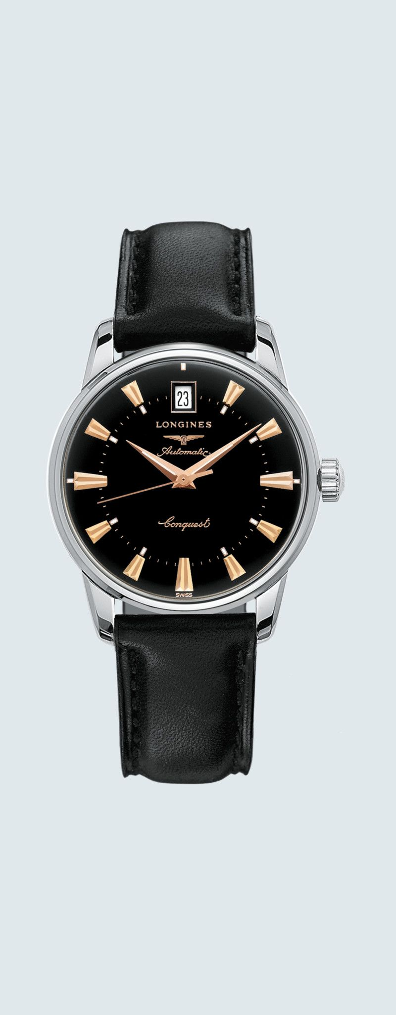 35.00 mm Stainless steel case with Black lacquered polished dial and Leather strap Black strap - ca