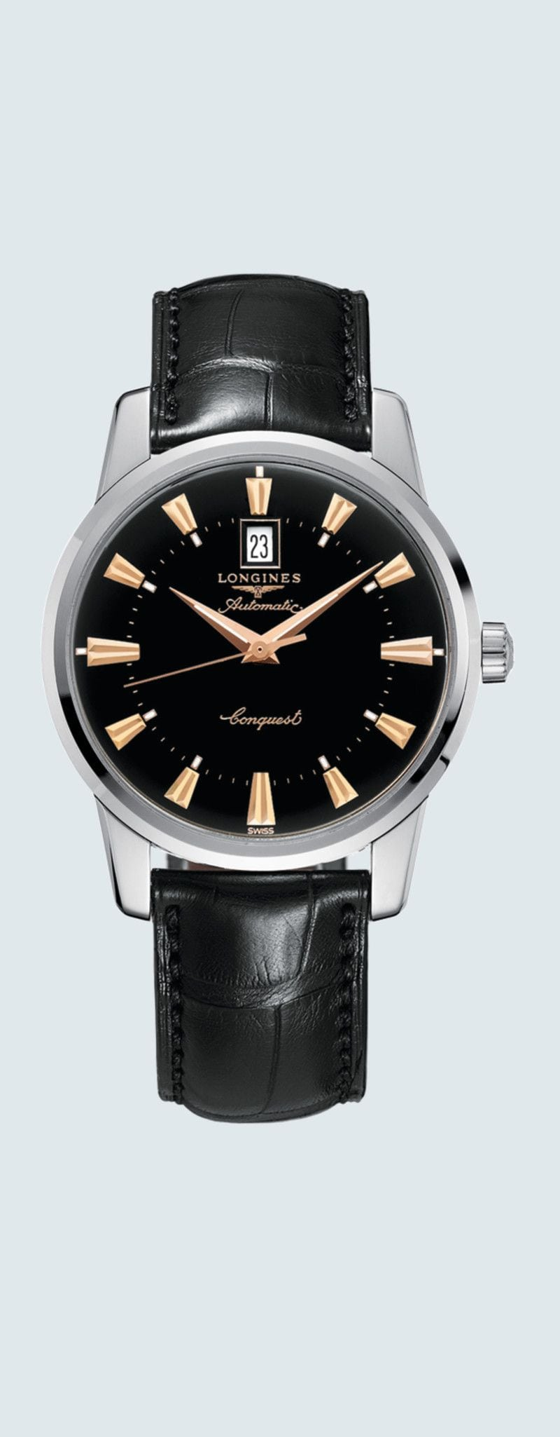 40.00 mm Stainless steel case with Black lacquered polished dial and Alligator strap Black strap -