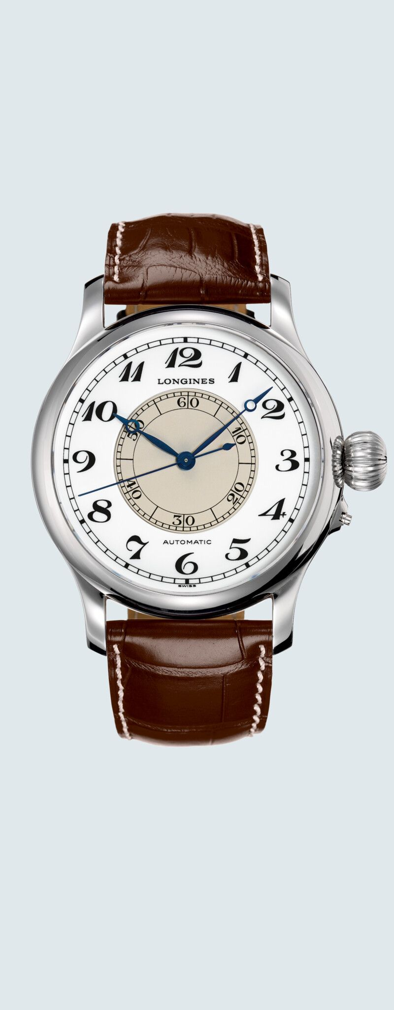 47.50 mm Stainless steel case with White lacquered polished dial and Alligator strap Brown strap -