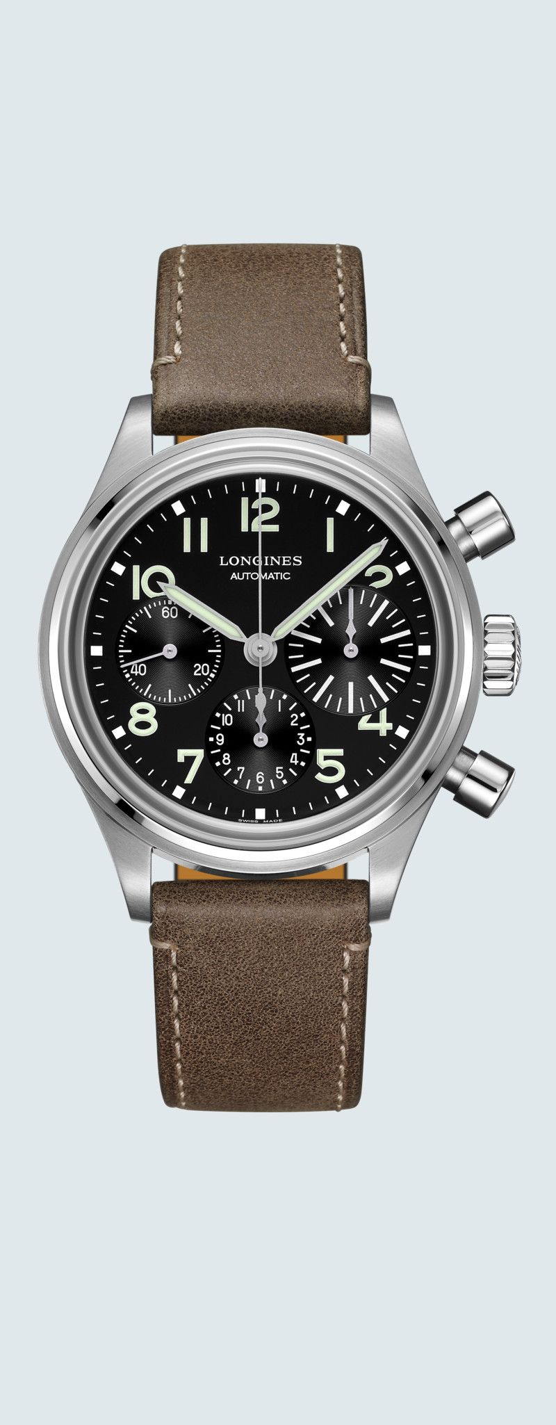 41.00 mm Stainless steel case with Black dial and Leather strap Brown strap - case zoom view