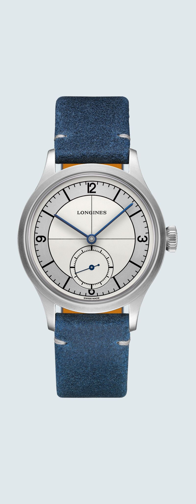 38.50 mm Stainless steel case with Silver dial and Leather strap Blue strap - case zoom view