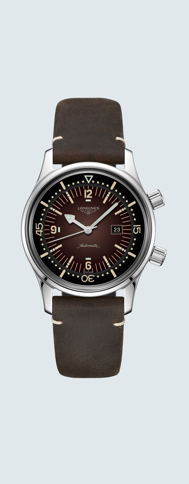 36.00 mm Stainless steel case with Brown dial and Leather strap Brown strap - case zoom view