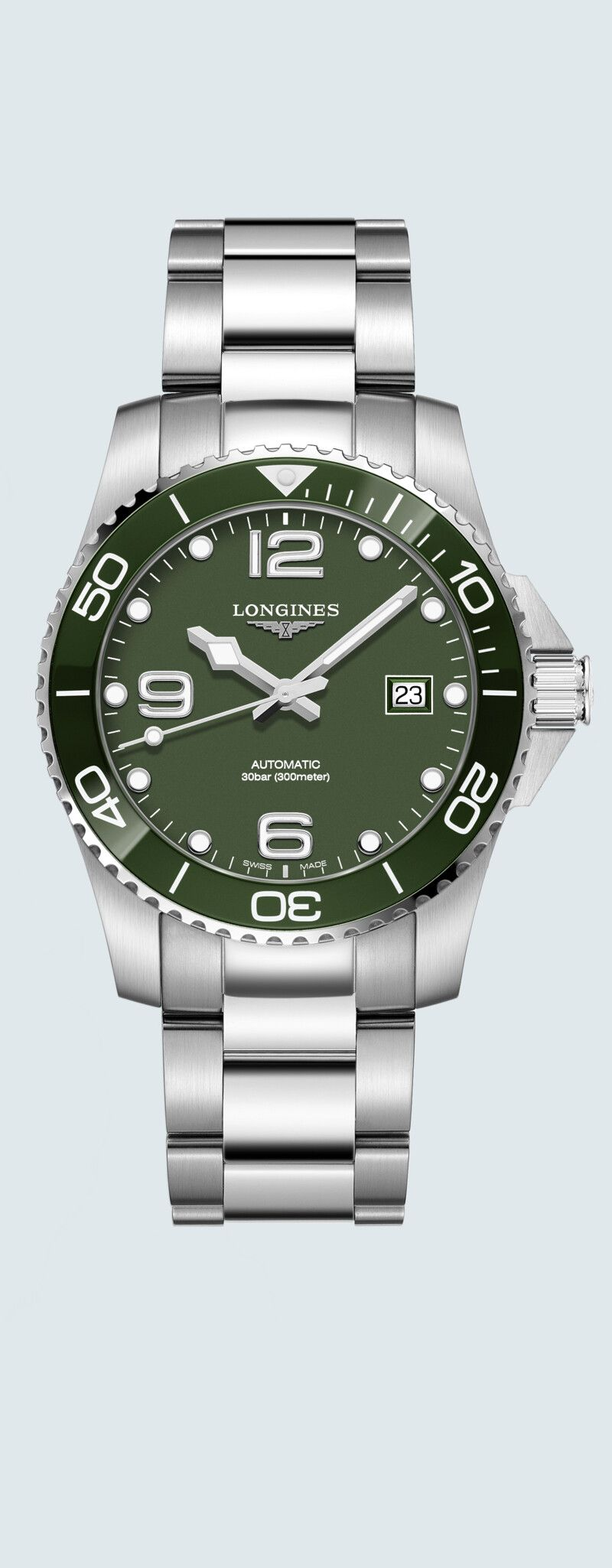 41.00 mm Stainless steel and ceramic case with Green matt dial and Stainless steel strap - case zoo